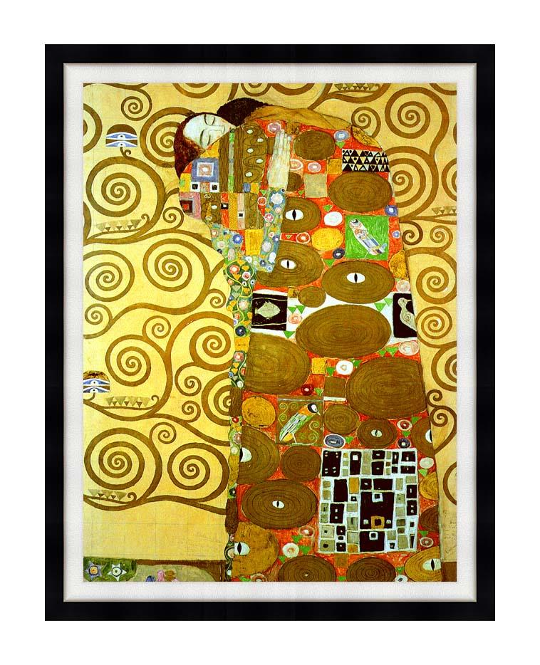 Gustav Klimt Fulfillment (detail) with Modern Black Frame