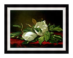 Martin Johnson Heade Giant Magnolias canvas with modern black frame