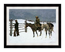 Frederic Remington The Fall Of The Cowboy canvas with modern black frame