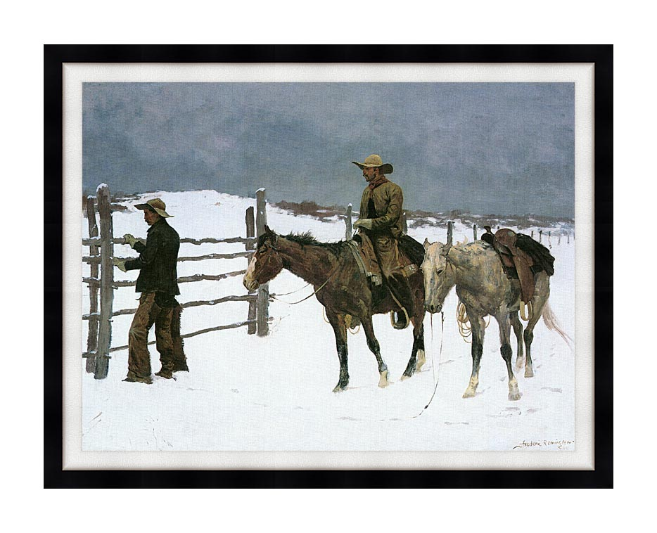 Frederic Remington The Fall of the Cowboy with Modern Black Frame