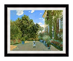 Claude Monet Monets House At Argenteuil canvas with modern black frame