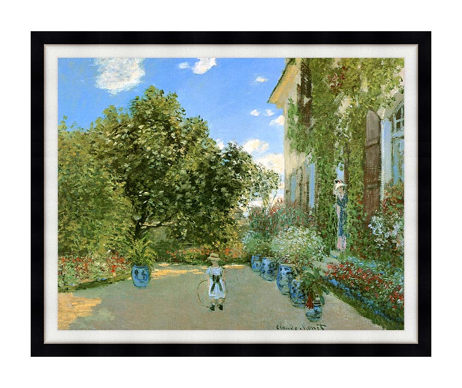 Claude Monet Monet's House at Argenteuil with Modern Black Frame