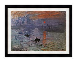 Claude Monet Impression Sunrise canvas with modern black frame