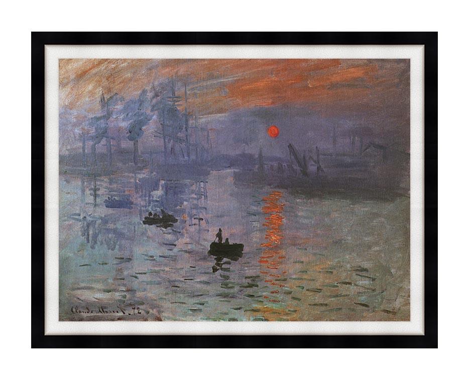 Claude Monet Impression, Sunrise with Modern Black Frame