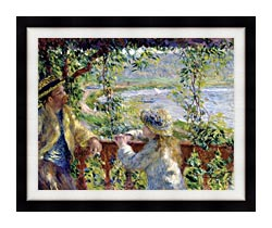 Pierre Auguste Renoir By The Lake canvas with modern black frame