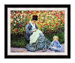 Claude Monet Camille Monet And Child In The Garden canvas with modern black frame