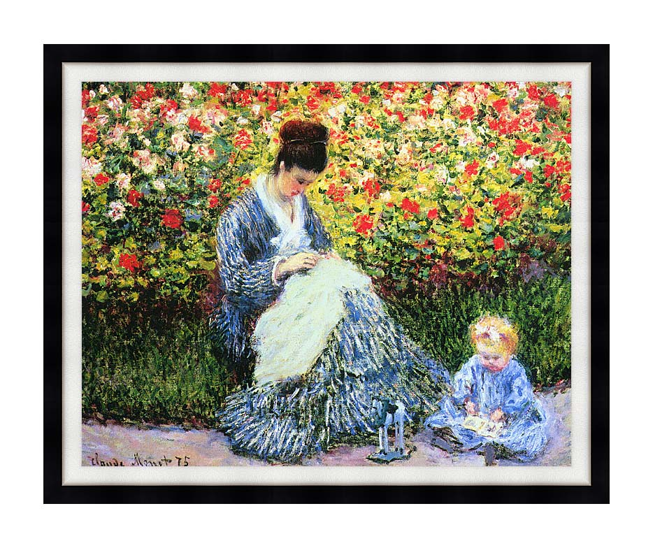 Claude Monet Camille Monet and Child in the Garden with Modern Black Frame