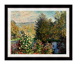 Claude Monet Corner Of A Garden At Montgeron canvas with modern black frame