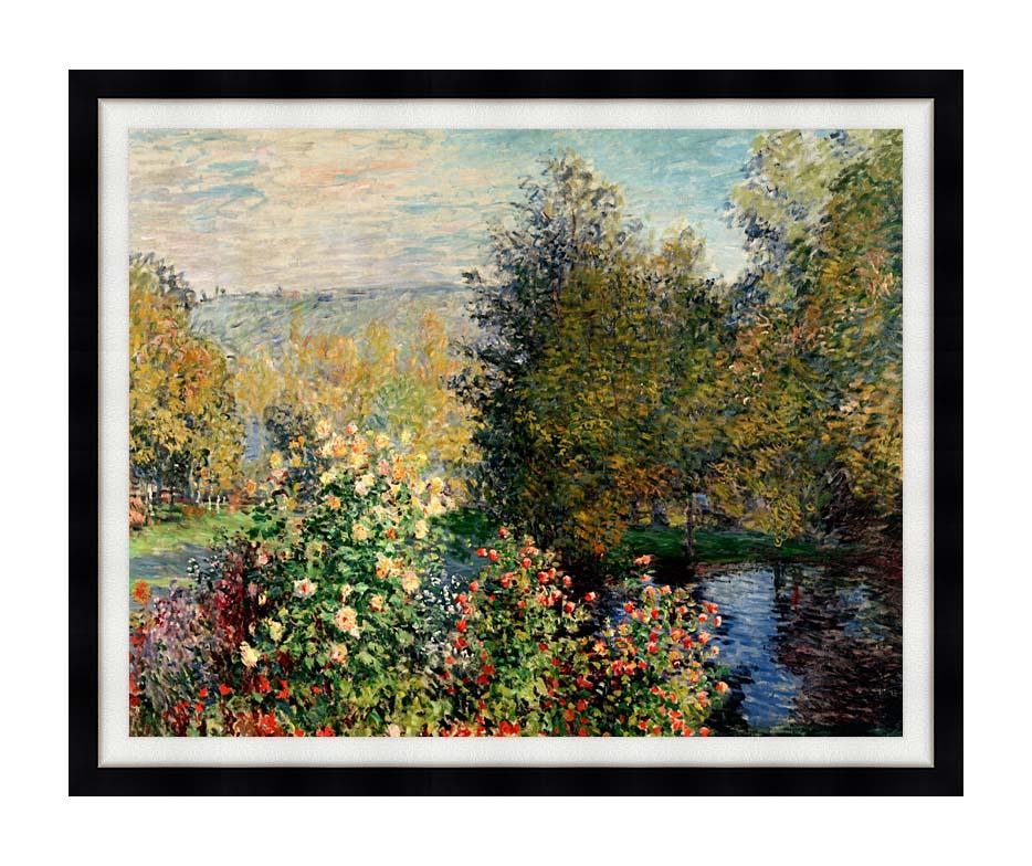 Claude Monet Corner of a Garden at Montgeron with Modern Black Frame