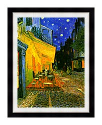 Vincent Van Gogh Cafe Terrace At Night Detail canvas with modern black frame