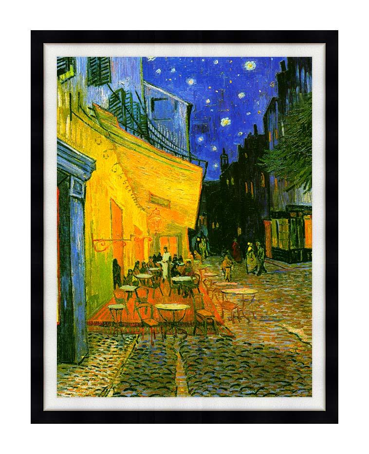 Vincent van Gogh Cafe Terrace at Night (detail) with Modern Black Frame