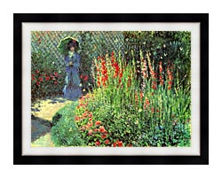 Claude Monet Gladioli canvas with modern black frame