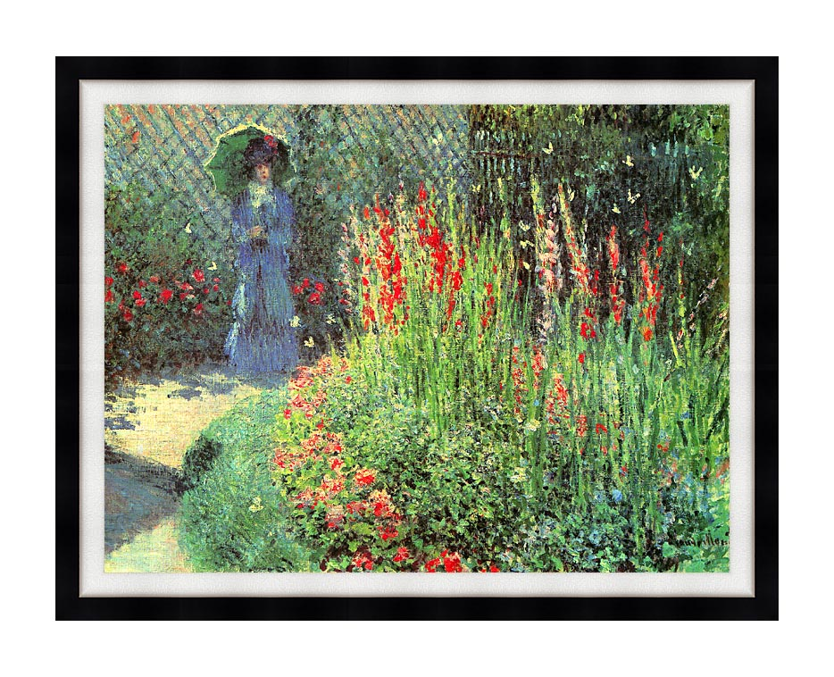 Claude Monet Gladioli with Modern Black Frame