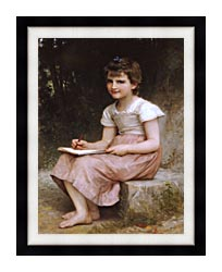 William Bouguereau A Calling canvas with modern black frame