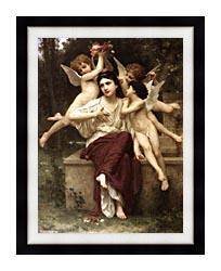 William Bouguereau A Dream Of Spring canvas with modern black frame