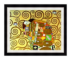 Gustav Klimt Fulfillment Close Up Detail canvas with modern black frame