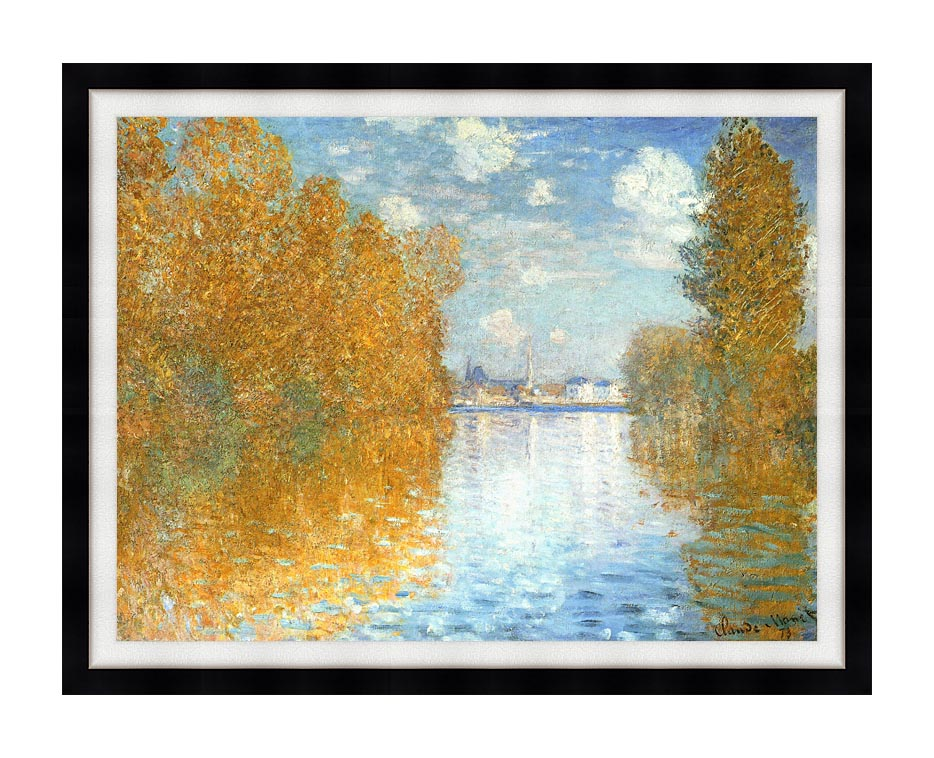 Claude Monet The Seine at Argenteuil, Autumn Effect with Modern Black Frame