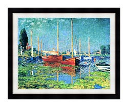 Claude Monet Red Boats Argenteuil canvas with modern black frame
