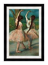Edgar Degas Dancers In Pink canvas with modern black frame