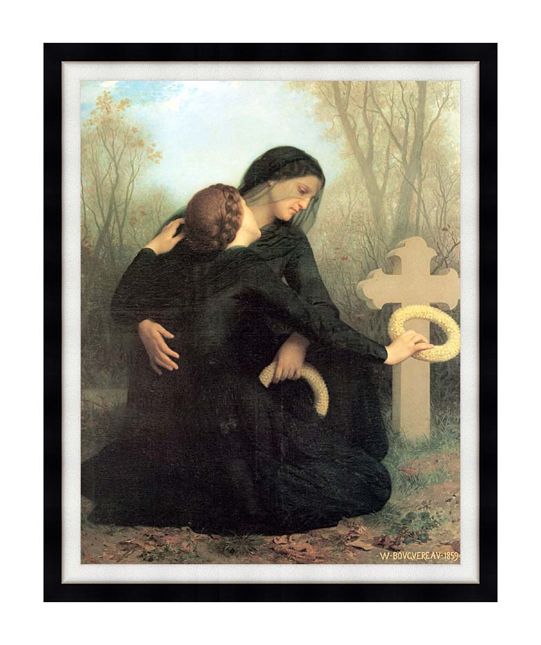 William Bouguereau All Saint's Day with Modern Black Frame