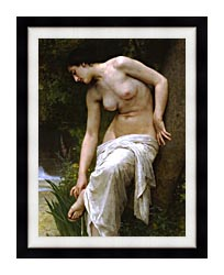 William Bouguereau Woman After The Bath canvas with modern black frame