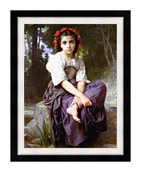 William Bouguereau At The Edge Of The Brook canvas with modern black frame