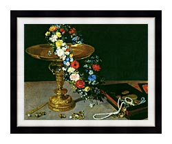 Jan Brueghel The Elder Gold Cup With Flower Wreath And Jewel Box Detail canvas with modern black frame