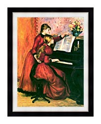 Pierre Auguste Renoir The Piano Lesson canvas with modern black frame