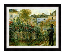 Pierre Auguste Renoir Claude Monet Painting In His Garden At Argenteuil canvas with modern black frame