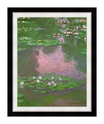 Claude Monet Water Lilies 1905 Portrait Detail canvas with modern black frame