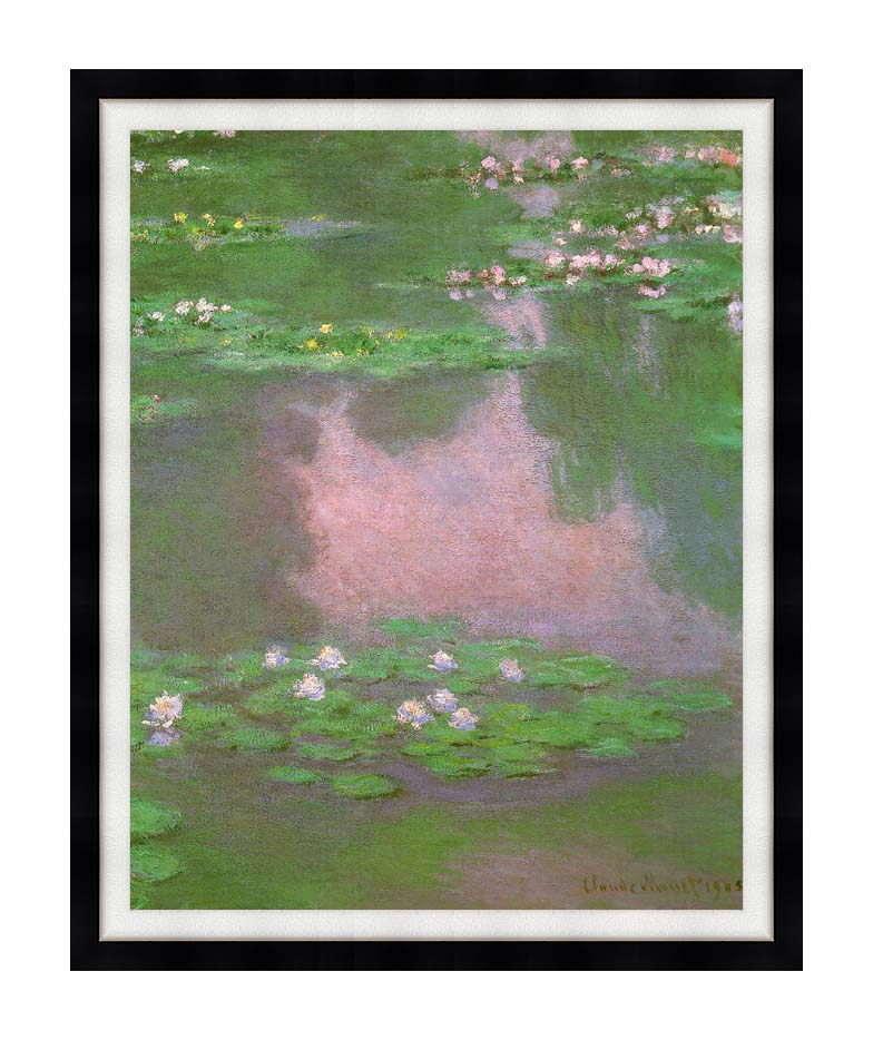 Claude Monet Water-Lilies 1905 (portrait detail) with Modern Black Frame