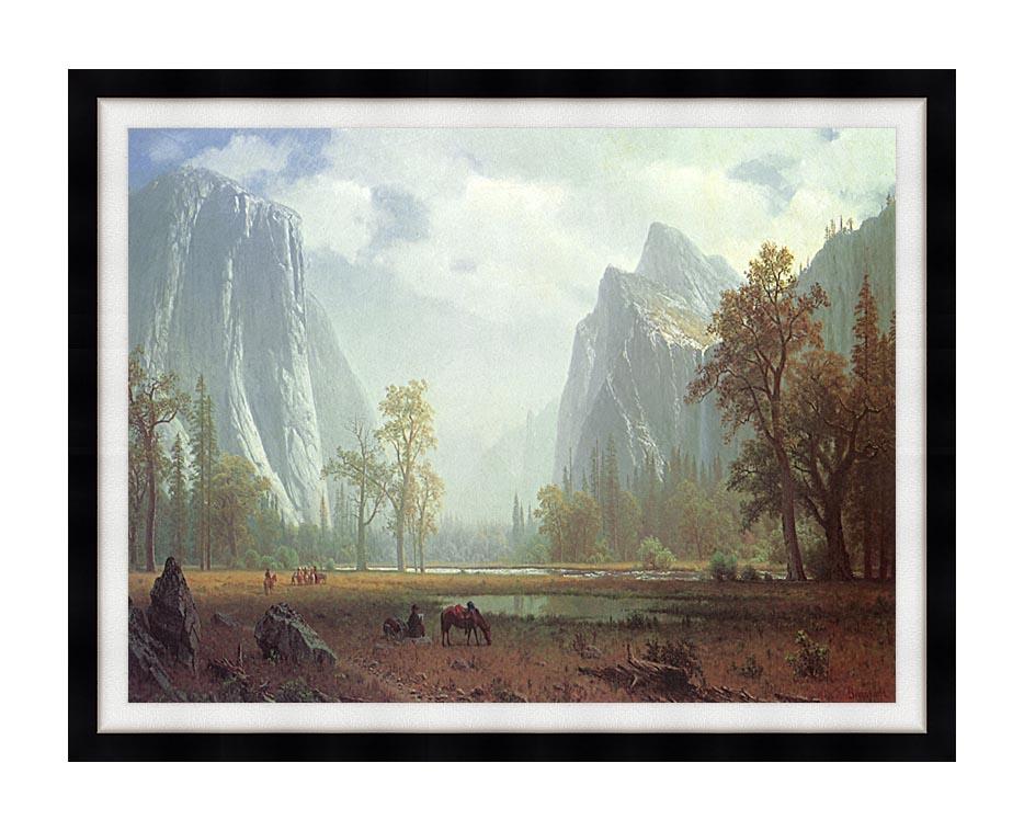 Albert Bierstadt Looking up the Yosemite Valley (detail) with Modern Black Frame