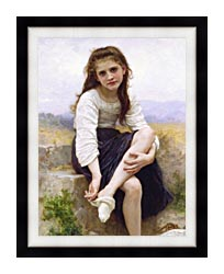 William Bouguereau Before The Bath canvas with modern black frame