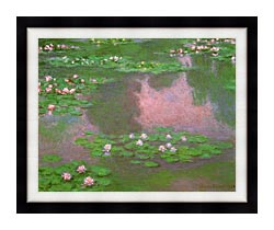 Claude Monet Water Lilies 1905 Detail canvas with modern black frame