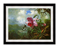 Martin Johnson Heade Orchid And Hummingbirds Near A Mountain Lake canvas with modern black frame