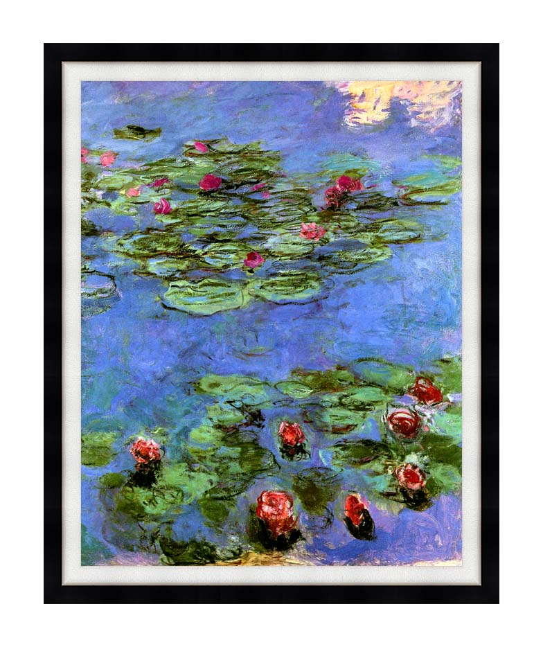 Claude Monet Water-Lilies 1914 with Modern Black Frame