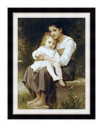 William Bouguereau Big Sister canvas with modern black frame