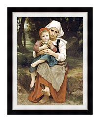 William Bouguereau Breton Brother And Sister canvas with modern black frame