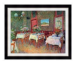 Vincent Van Gogh Interior Of A Restaurant canvas with modern black frame