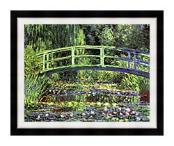 Claude Monet Water Lilies And Japanese Bridge canvas with modern black frame