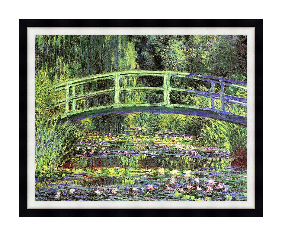Claude Monet Water Lilies and Japanese Bridge with Modern Black Frame