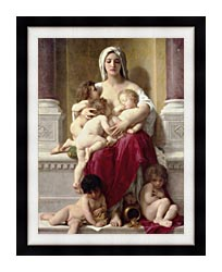 William Bouguereau Charity canvas with modern black frame