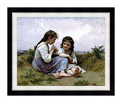 William Bouguereau Childhood Idyll canvas with modern black frame