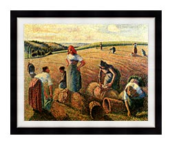 Camille Pissarro The Gleaners canvas with modern black frame