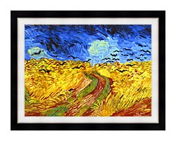 Vincent Van Gogh Wheat Field With Crows Detail canvas with modern black frame