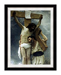 William Bouguereau Compassion canvas with modern black frame