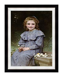 William Bouguereau Daisies canvas with modern black frame