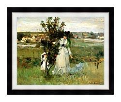 Berthe Morisot Hide And Seek canvas with modern black frame