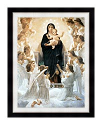 William Bouguereau The Virgin With Angels canvas with modern black frame