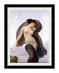 William Bouguereau Evening Mood canvas with modern black frame